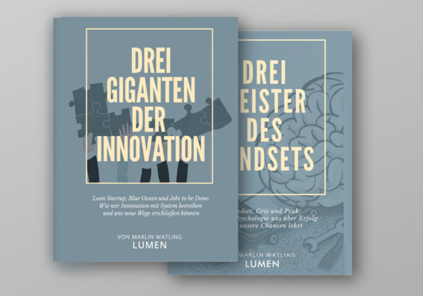Die Drei Giganten der Innovation - Buch - Komposition/Satz - Composition - Marlin Watling LUMEN GmbH, Lean Startup, Blue OCean, Jobs To Be Done