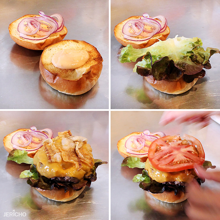 Assembly of Johnny Burger at Nomads Proper Burgers, Morro Jable, Fuerteventura. burger patty, salad, lettuce, tomato and cheese